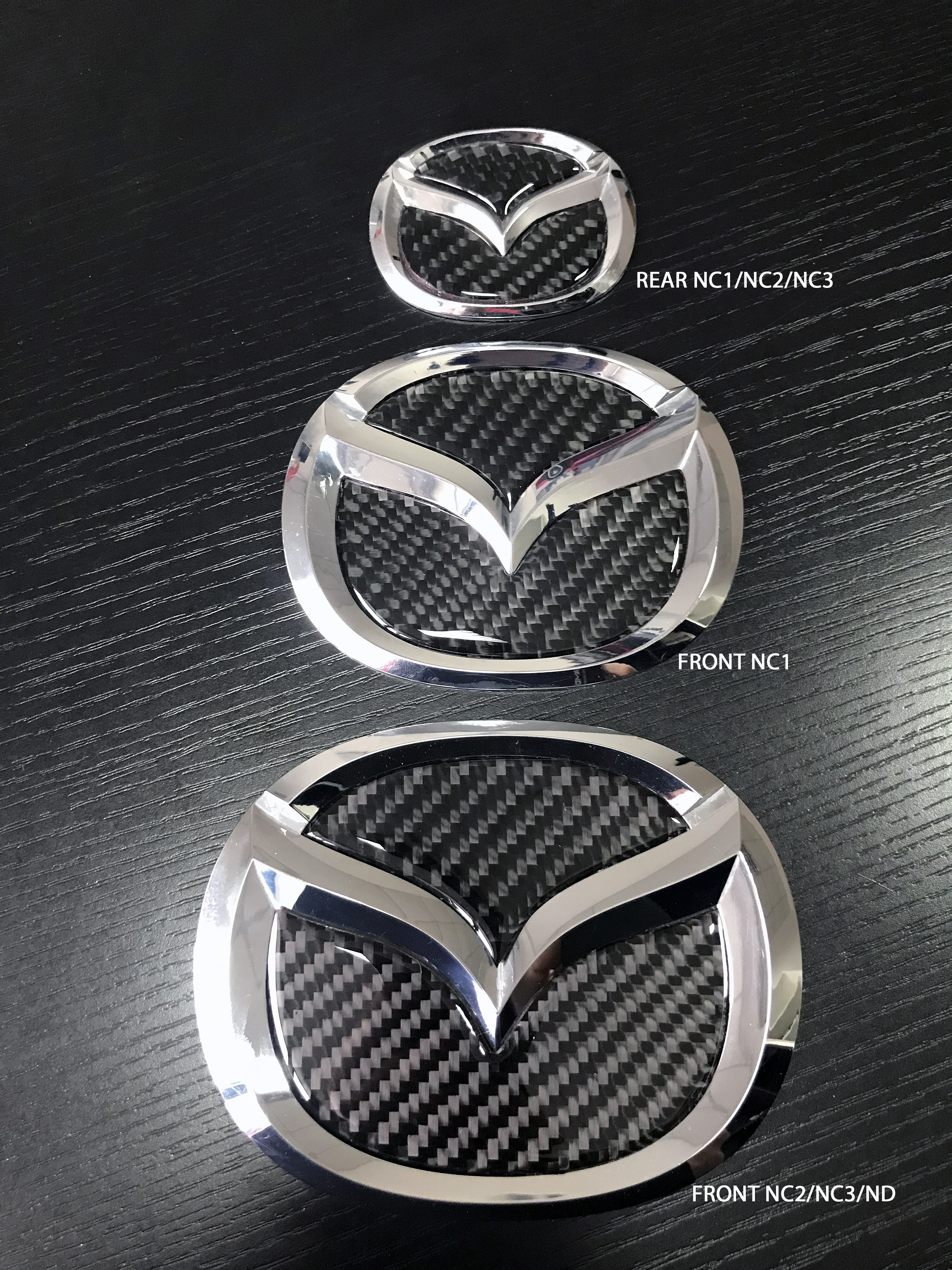 Carbon Fiber Inserts For Mazda Emblems Nc1nc2nc3 Size The